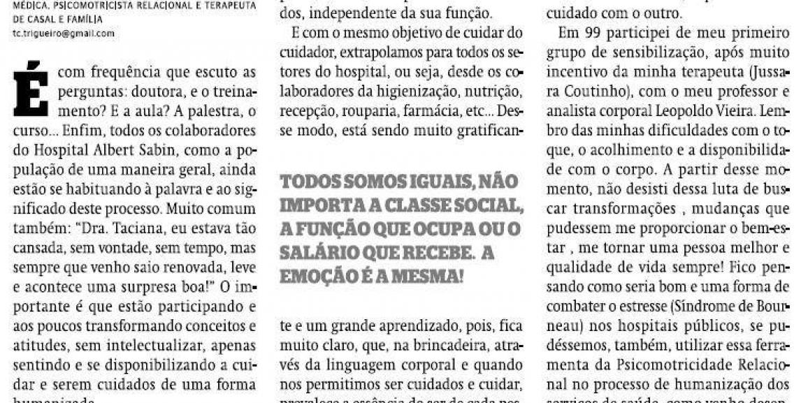 Hospital + psicomotricidade relacional = humanização
